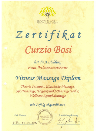 Zertifikat Fitness Massage Diplom