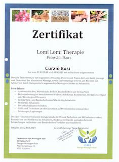 Zertifikat Lomi Therapie